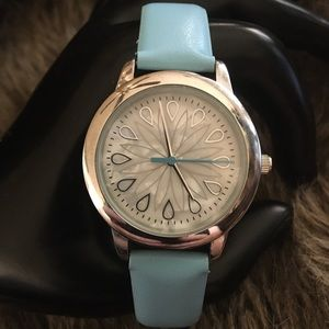 Ladies MSPCI blue faux leather band watch
